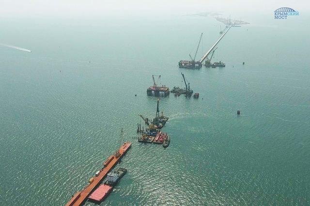 Готов на10%: всети интернет показали новое видео возведения Крымского моста